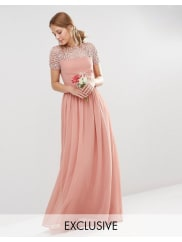 MayaPleated Maxi Dress With Pearl Embellishment - Dusky pink