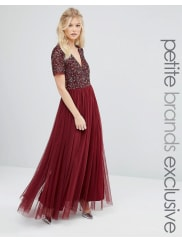 MayaV Neck Maxi Tulle Dress With Tonal Delicate Sequins - Maroon