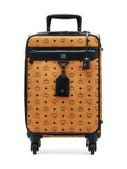 MCMVisetos Leather Travel Trolley/Rolling Carryon Suitcase, Cognac