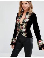 Millie MackintoshEmbroidery Floral Jacket - Black