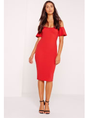 MissguidedBardot Bodycon Midi Dress Red