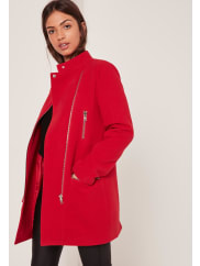 MissguidedCollarless Biker Coat Red