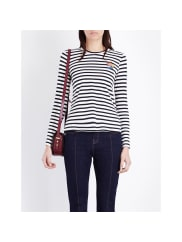 Mo&co.Breton Stripe Long-Sleeved Top, Womens, Size: Large, Blue And White