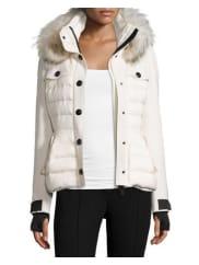 MonclerQuilted Ski Jacket w/Fur Hood, Cream