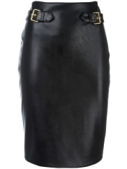 Moschinoleather look pencil skirt, Womens, Size: 40, Black