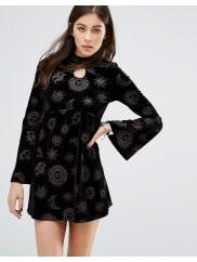 MotelKendal Babydoll Dress In Zodiac Glitter Velvet - Black