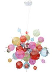 NävePendelleuchte »Glasball«, 10-flg., bunt, chrom, multicolor