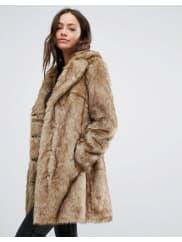 New LookFaux Fur Midi Coat - Brown pattern
