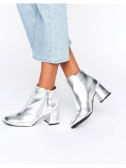 New LookMetallic Block Heeled Ankle Boots - Argento