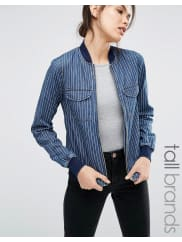 Noisy MayBomber di jeans gessato - Blu