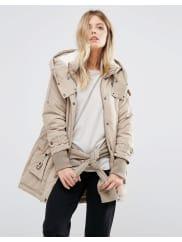 Noisy MayFishtail Hem Parka Jacket - Silver mink