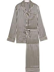 Olivia Von HalleLila Striped Silk-satin Pajama Set - Black