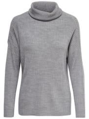 OnlyStehkragen- Strickpullover, grau, Light Grey Melange