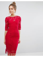 Paper Dolls3/4 Length Sleeve Lace Dress - Berry red