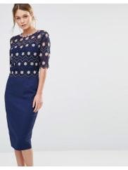 Paper DollsLace Overlay Midi Dress - Navy/blush
