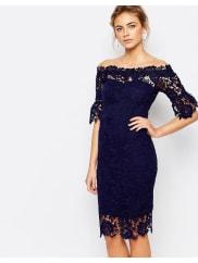 Paper DollsOff Shoulder Crochet Dress With Frill Sleeve - Navy