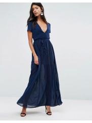 Pixie & DiamondMaxi Dress With Tie Waist - Navy