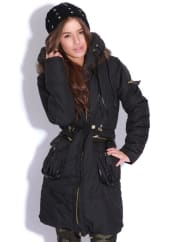 Pretty Little ThingCaroline Black Quilted Parka Coat-10, Black