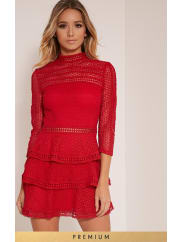 Pretty Little ThingCaya Red Premium Lace Panel Tiered Mini Dress-10, Red