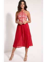 Pretty Little ThingCristabel Red Lace Halterneck Pleated Midi Dress - 10, Red
