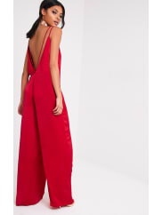 Pretty Little ThingElisabeth Red Oversized Satin Harness Jumpsuit, Red