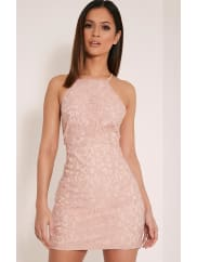 Pretty Little ThingElora Baby Pink Cross Back Lace Mini Dress-4, Baby Pink
