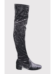 Pretty Little ThingEsmay Grey Crushed Velvet Thigh High Boots, Grey
