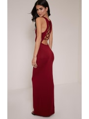 Pretty Little ThingJamaia Burgundy Lace Up Back Maxi Dress-10, Burgundy