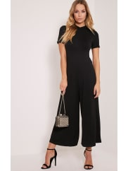Pretty Little ThingKacee Black High Neck Jersey Culotte Jumpsuit-10, Black