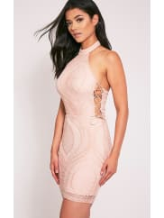 Pretty Little ThingKaitlan Dusty Pink High Neck Lace Up Side Bodycon Dress, Dusty Pink