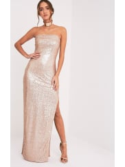 Pretty Little ThingKathie Rose Gold Bandeau Sequin Maxi Dress, Rose Gold