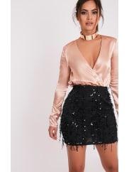 Pretty Little ThingKelley Black Sequin Detail Mini Skirt, Black