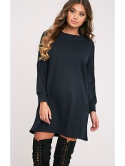 Pretty Little ThingLaine Black Oversized Sweater Dress, Black