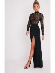 Pretty Little ThingMaisie Black Lace Top Split Side Maxi Dress, Black