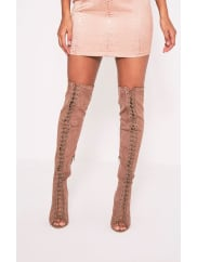 Pretty Little ThingMalinda Mocha Lace Up Peep Toe Thigh High Boots, Brown