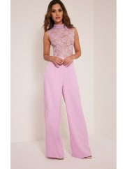 Pretty Little ThingMiley Lilac Sleeveless Lace Top Jumpsuit-10, Lilac