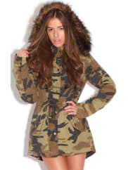 Pretty Little ThingNicola Camouflage Parka Coat, Green