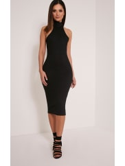 Pretty Little ThingPearla Black Racer Neck Ribbed Midi Dress, Black