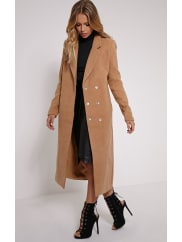 Pretty Little ThingSalana Camel Longline Double Breasted Coat - 4, Camel