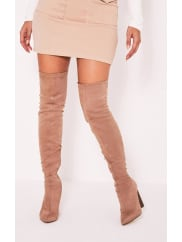 Pretty Little ThingTonya Nude Suede Thigh High Heeled Boots, Pink