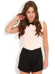 Pretty Little ThingXander Pink Chiffon Collar Playsuit, Pink