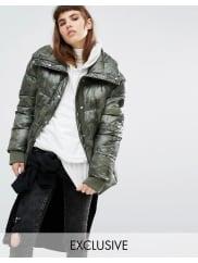 PuffaOversized Padded Jacket In Angular Camo - Khaki