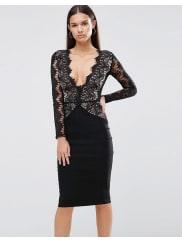 Ra-ReLondon Pencil Dress With Scallop Lace Bodice and Sleeve