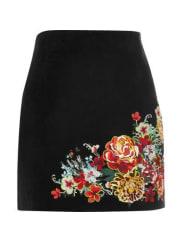 River IslandWomens Black suede embroidered mini skirt