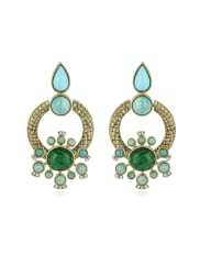 Roberto CavalliBohemian Gold and Turquoise Clip-on Earrings