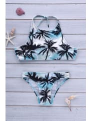 RoseGalStylish Halter Coco Tree Print Bikini Set For Women