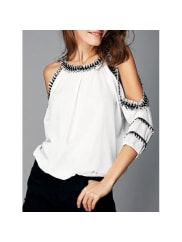 RosewholesaleFashionable Cut Out Fringed Splicing Women s Blouse