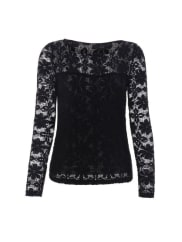 RosewholesaleTrendy Long Sleeve Floral Embroidered Translucent Lace Blouse