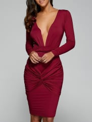 SammydressLong Sleeve Twist Front Plunge Dress