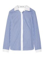 Sandy LiangEnzo Gestreiftes Hemd Aus Baumwollpopeline Mit Wickeleffekt Und Volant Am Rückenausschnitt - Blau